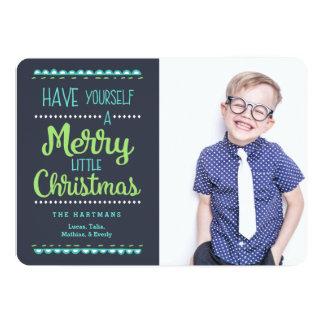 """Feliz pequeña tarjeta del día de fiesta de la foto invitación 5"""" x 7"""""""