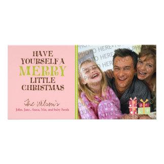 Feliz pequeño día de fiesta PhotoCard (rosa) del Tarjeta Personal Con Foto
