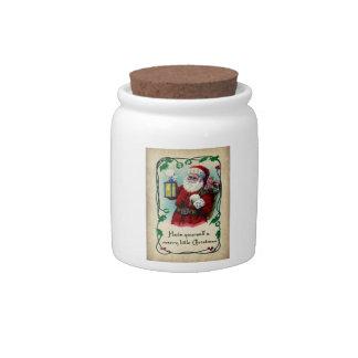 Feliz pequeño tarro del caramelo del navidad jarra para caramelo