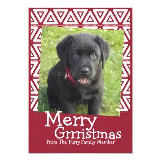 Feliz perro de Grrristmas temático Invitación 12,7 X 17,8 Cm