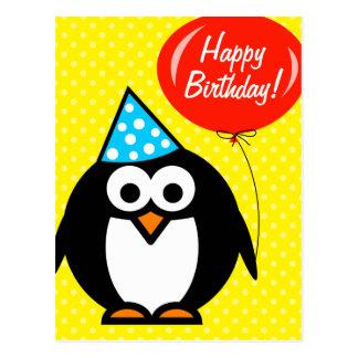 Feliz pingüino lindo y globo de la postal el | del