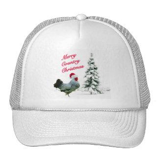 Feliz pollo del navidad del país con el gorra de