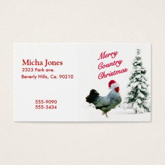Feliz pollo del navidad del país con el gorra de tarjetas de visita