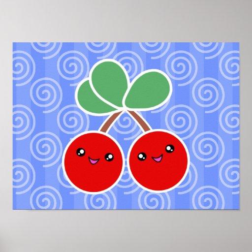 Feliz poster de Kawaii de las cerezas