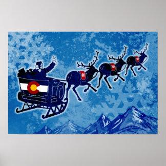 Feliz poster del grunge del navidad de Colorado Póster