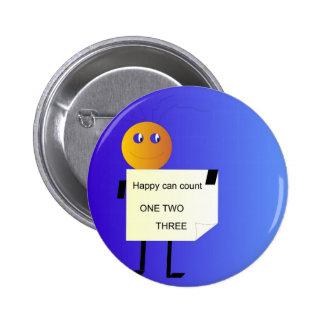 """""""Feliz puede contar """" el botón de los >Children Pin Redondo De 2 Pulgadas"""