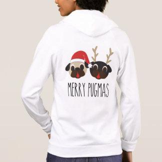 Feliz Pugmas Santa y sudadera con capucha del reno