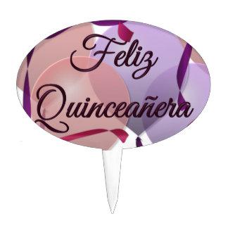 Feliz Quinceanera - Happy 15th Birthday Oval Cake Pick
