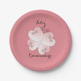 Feliz Quinceañera Pink Heart Butterfly Paper Plate 7 Inch Paper Plate