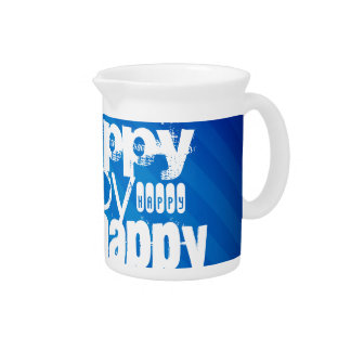 Feliz; Rayas azules reales Jarras Para Bebida