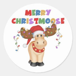 Feliz regalo del navidad de Christmoose Pegatina Redonda