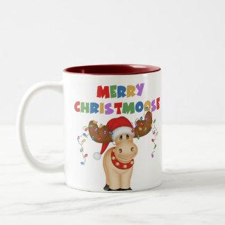 Feliz regalo del navidad de Christmoose Taza De Dos Tonos