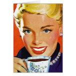 Feliz retro en tarjetas en blanco del té del café