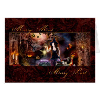 Feliz reunión - bruja mágica - tarjeta en blanco