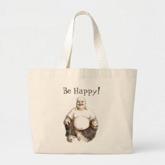 Feliz, riendo, buena suerte, buena fortuna Buda Bolsa Tela Grande