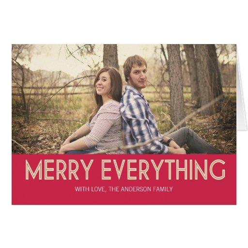 Feliz rojo todo tarjetas de Navidad de la foto