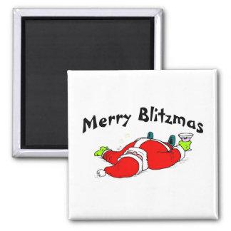 Feliz Santa bebido Blitzmas Imán Cuadrado