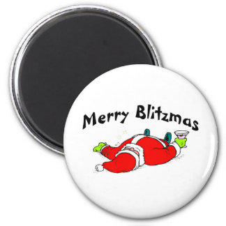 Feliz Santa bebido Blitzmas Imán Redondo 5 Cm