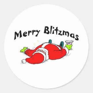 Feliz Santa bebido Blitzmas Pegatina Redonda