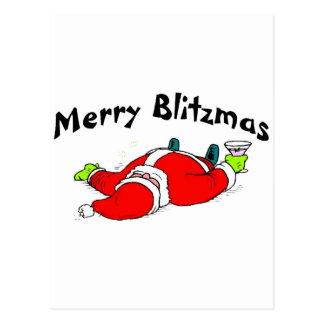 Feliz Santa bebido Blitzmas Tarjeta Postal