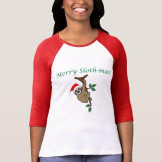 Feliz Slothmas 3/4 camiseta del raglán de la manga