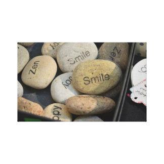 Feliz, sonrisa, lona del zen - Italia Impresiones En Lona Estiradas