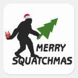 Feliz Squatchmas Pegatina Cuadrada