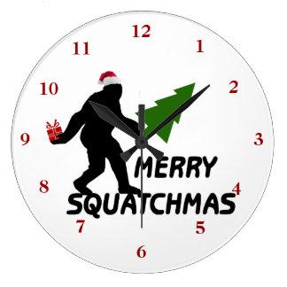 Feliz Squatchmas Reloj Redondo Grande