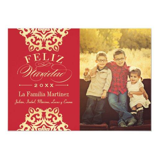 """Feliz Tarjeta de la Foto de Navidad en Rojo y Oro Invitación 5"""" X 7"""""""