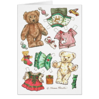 Feliz tarjeta de Navidad de la muñeca del papel de