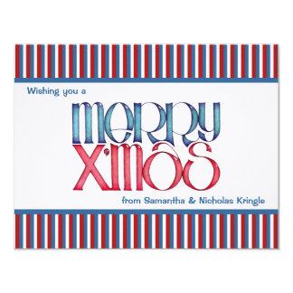 """Feliz tarjeta de Navidad plana azul de X'mas Invitación 4.25"""" X 5.5"""""""