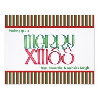 """Feliz tarjeta de Navidad plana verde de X'mas Invitación 4.25"""" X 5.5"""""""