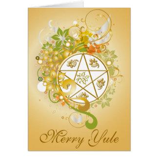 Feliz tarjeta del camafeo del Pentagram de Yule -
