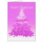 Feliz tarjeta del rosa del árbol de navidad