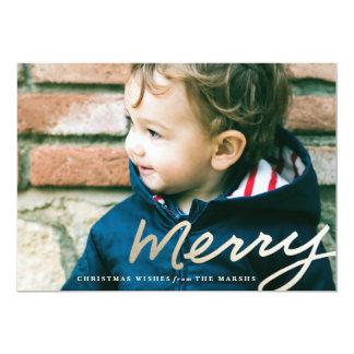 """Feliz tarjeta dorada del día de fiesta del navidad invitación 5"""" x 7"""""""