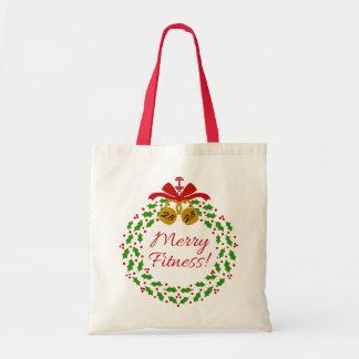 Feliz tote del navidad de la guirnalda de la bolsa tela barata