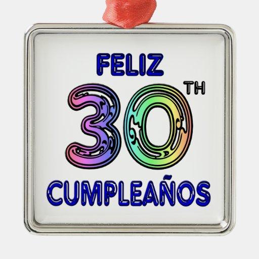 Feliz trigésimo Cumpleaños Adorno Navideño Cuadrado De Metal