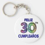 Feliz trigésimo Cumpleaños Llaveros Personalizados