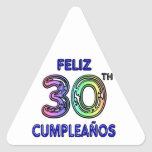 Feliz trigésimo Cumpleaños Pegatina Triangular
