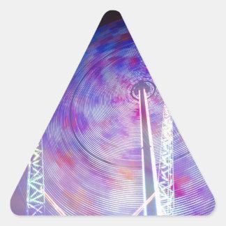 Feliz va la ronda pegatina triangular