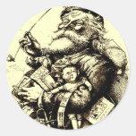 Feliz viejo Papá Noel Etiqueta Redonda