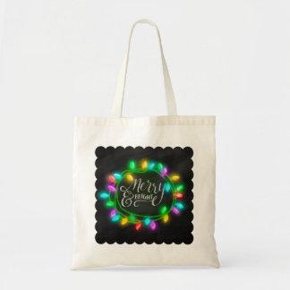 Feliz y brillante dibujada tiza con las luces bolsa tela barata