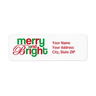 Feliz y brillante personalizados etiquetas de remite