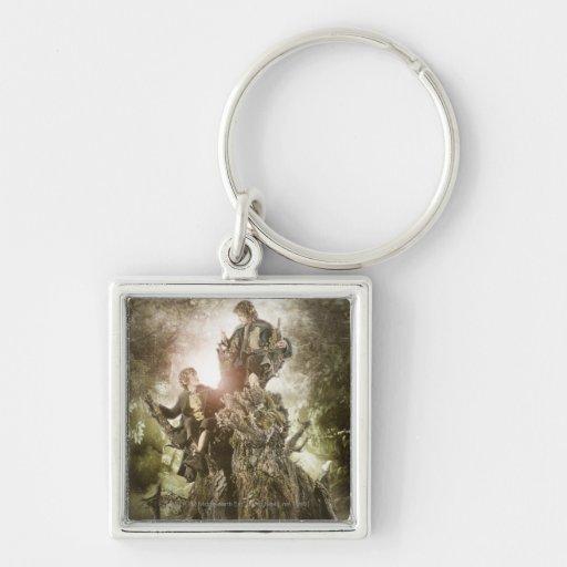 Feliz y Peregrin en Treebeard Llavero Cuadrado Plateado