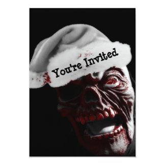 """Feliz zombi sangriento Santa de Halloween Invitación 5"""" X 7"""""""
