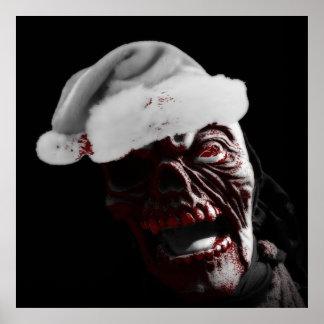 Feliz zombi sangriento Santa de Halloween Impresiones