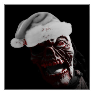 Feliz zombi sangriento Santa de Halloween Póster
