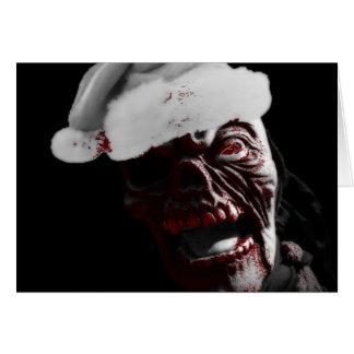 Feliz zombi sangriento Santa de Halloween Tarjeta De Felicitación