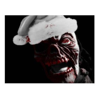 Feliz zombi sangriento Santa de Halloween Tarjetas Postales
