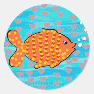 Fell in love fish classic round sticker